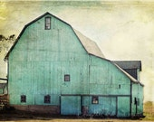 Aqua Barn Photo, Rustic Farmhouse Photography, Mint Turquoise Teal Country Farm Fixer Upper Style Print, Livingroom Home Decor Wall Art