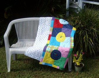 Mod- Geometric Quilt measuring 45 inches square, one of a kind