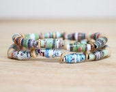 Olive Green Recycled Paper Bead Bracelet, Handmade With Book Pages, Earthy Bracelet, Organic Gift, Book Lover