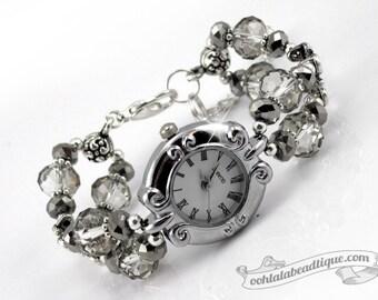 Silver crystal watch, silver bracelet watch, crystal wrist watch, beaded watch, adjustable watch, ladies watch, wedding jewelry, rhinestone