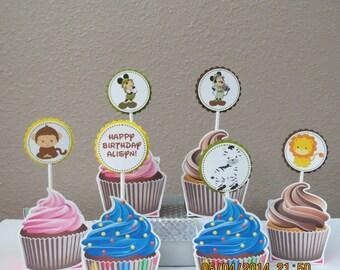 Personalized MIckey & Minnie Safari/Jungle Cupcake Toppers