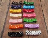 Gift Set of 14 Tuxedo VELCRO Hair Bows Bold Colors ,Polka Dot, Starter Kit, NewBorn Infant Toddler Baby, Starter Set (Ready To Ship)