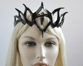 Black Tiara with Arrowhead Stone called Black Fire in leather by Hawk & Deer