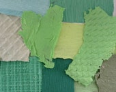 Green handmade paper sample pack - grab bag - bargain - acid free - recycled