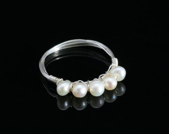 Sterling silver pearl ring Bridesmaids gifts Free US Shipping handmade anni designs