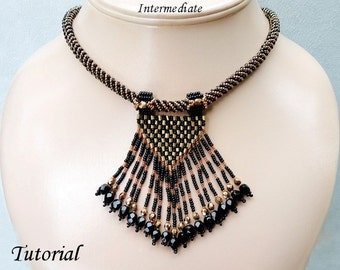 SOPHISTICATE beaded necklace beading tutorials and patterns seed bead beadwork jewelry beadweaving tutorials beading pattern instructions