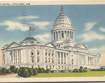 Vintage Mailed Postcard State Capitol Little Rock Ark 1942