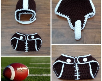 Crochet Football Outfit (football helmet beanie and a diaper cover)