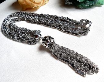 Kramer 6 Strand Silver Tone Tassel Necklace Vintage Signed