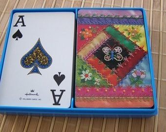 "Vintage 80's ""HALLMARK - PATCHWORK HERITAGE""  Bridge Playing Cards -  Plastic Coated"