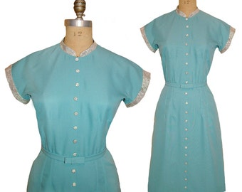 The Notebook Dress - 1940s Style Button Up Dress Custom Made In Your Size From a Vintage Pattern