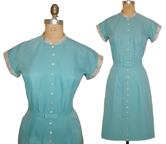 1940s Style Dresses and Clothing The Notebook Dress - 1940s Style Button Up Dress Custom Made In Your Size From a Vintage Pattern $198.00 AT vintagedancer.com