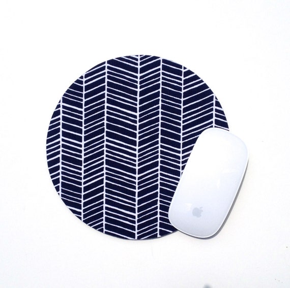 Herringbone Mouse Pad / Chevron Navy Blue and White / Round Mousepad / Office Home Decor