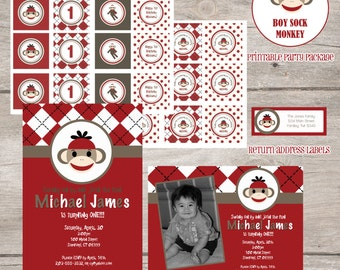 Printable Party Package: Red Sock Monkey Collection