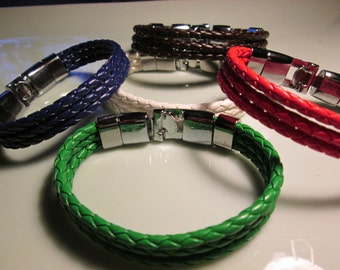 bracelet braided HANDMADE leather styles and colors 3 row lock clasp see colors right off the European runways