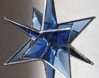 Moravian Stars, violet blue or a pale jade green beveled glass suncatchers
