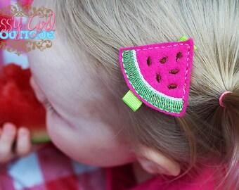 Summer-Girls Hair Accessories -Fruit-Felt Hair Clip -Embroidered Boutique Watermelon- Felt Hair Clippie -No Slip Grip