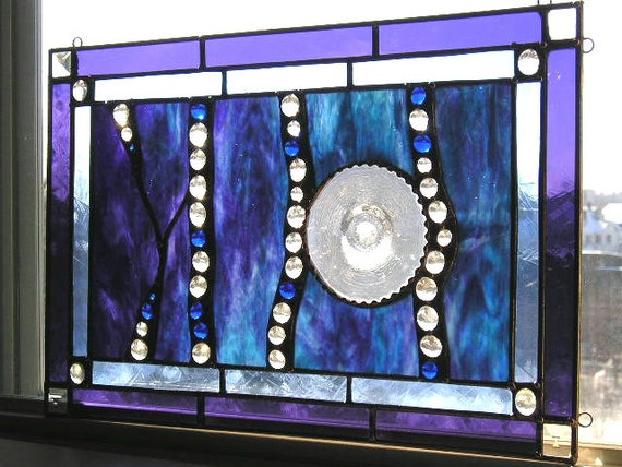 Stained Glass Panel - Purple - Aqua - Cobalt - Clear - Abstract - OOAK - Handcrafted - Made in USA