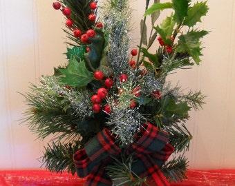 "Christmas in July  - "" Antique   Christmas Skates  "" - Christmas Centerpiece - Floral Arrangement"