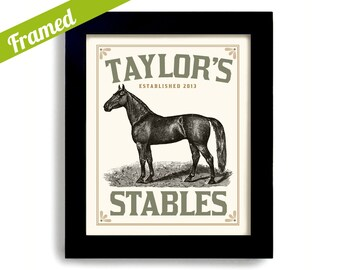 Horse Gift Art Horse Tact Framed Print Horse Stable Horse Lover Gift Personalized Horse Black Horse Rides a Horse Custom Horse Art