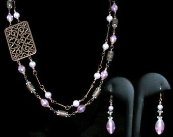 Purple and Copper Necklace & Earrings (S092)