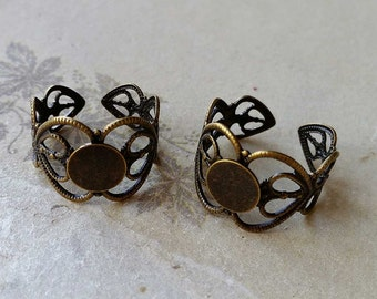 18 mm Antiqued Bronze Adjustable Ring Findings (.gg)