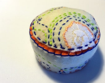 Embroidered Flower Pincushion Ready to Ship