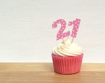 Pink Spotty Age Cupcake Toppers