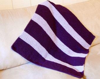 Purple Stripe Baby Blanket Knitted Purple Baby Blanket Baby Shower Gift