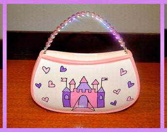 Ceramic Purse Bank with Beaded Handle
