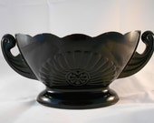 Vintage Black Milk Glass Floral Vase