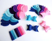 Felt Bows Unassembled AQUA. Set of 14 bows, DIY supplies