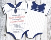 Sailor - Ahoy it's a Boy! Onesie Baby Shower Invitation - Pick Your Qty