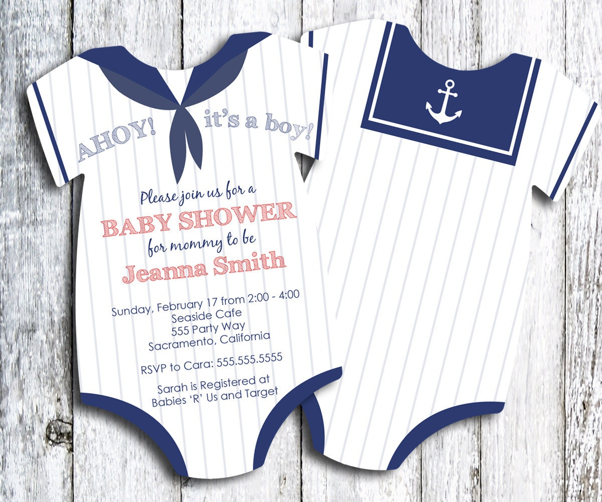 sailor ahoy it 39 s a boy baby shower invitation printed