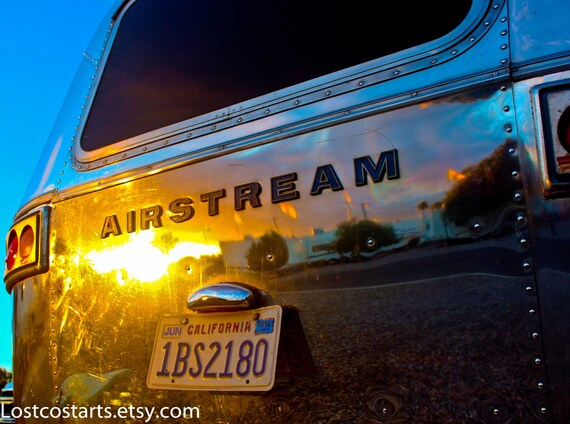 Airstream Sunset Photo Reflection Vintage Trailer Glamour Camping Sports Bar Man Cave Wall Art Glamping In LA Photography Retro Trailer