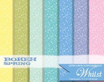 Spring digital paper Easter, bokeh texture papers, scrapbook  : L0703 v301 spring1
