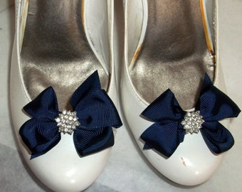 Cute Chic Style Shoe Clips -Navy Blue -Crystal Rhinestones - set of 2 bridal wedding special occasion shoe clips for shoes