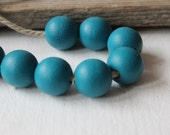Turquoise wooden beads 25 mm / set of 5 handpainted beads/  do it yourself jewelry
