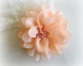 Peach Chiffon Flower with Center.  1 pc. ISLA Collection
