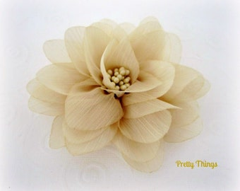 Beige Tan Chiffon Flower with Center -- 1 pc. ISLA Collection.