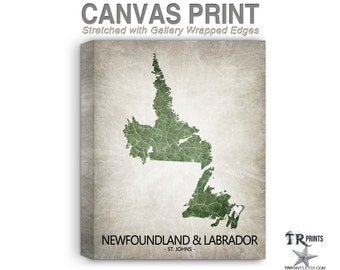 Newfoundland & Labrador Canada Map Stretched Canvas Print - Home Is Where The Heart Is Love Map - Original Personalized Map Print on Canvas