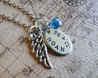 Custom Angel Baby Necklace Hand-Stamped on Nickel Silver Pendant