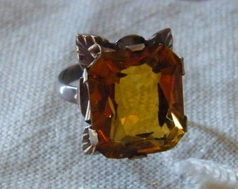 Sterling Silver hand crafted marked Mexico Topaz glass