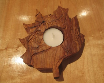 Leaf shaped candle holder.