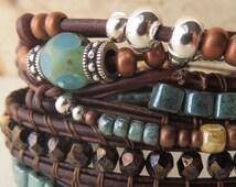 Women's leather wrap bracelet, three wrap beaded leather wrap bracelet with fourth knotted beaded leather wrap, boho wrap bracelet, bohemian