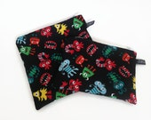 reusable sandwich bag / snack bag with zipper: Little Monsters on Black