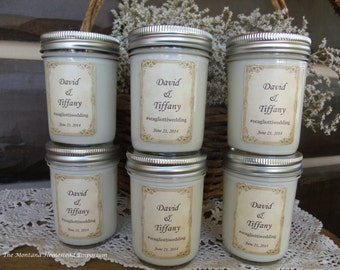wedding table candles 6 pack all natural soy beeswax candles bridesmaid gifts shower favors custom labels choose your scent Montana soy
