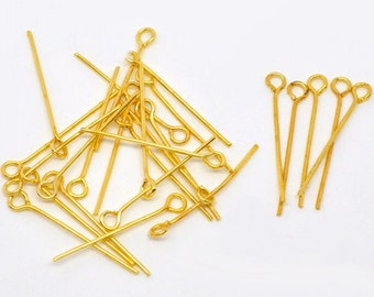200pcs Gold Plated Metal Eye Pin Jewelry Making  Findings 26mm