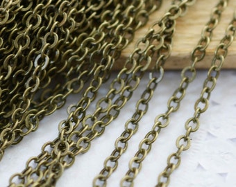 16ft 5 meters 2.5x3mm Antique Bronze Brass Flat Oval Cable Link Chain Jewelry Findings