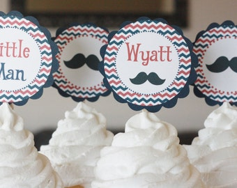 12 - Little Man Happy Birthday Vintage Mustache Theme Baby Shower Red Blue Stripe Cupcake or Cake Toppers- Ask About our Party Pack Sale